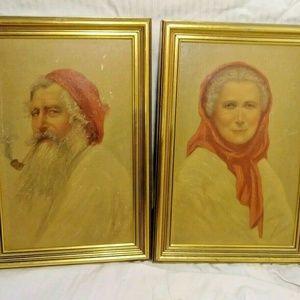Vintage Art Prints Santa Claus old man woman red
